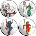 2002年 中国京剧艺术(第4组)1盎司彩色银币(4枚)