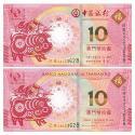 2019澳门生肖猪年纪念钞(尾三同)