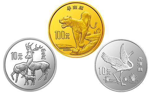 1989中国珍稀野生动物纪念币,中国珍稀野生动物纪念币第二组,中国珍稀野生动物金银币,1989年10元梅花鹿银币,1989年10元丹顶鹤银币,1989年100元华南虎金币