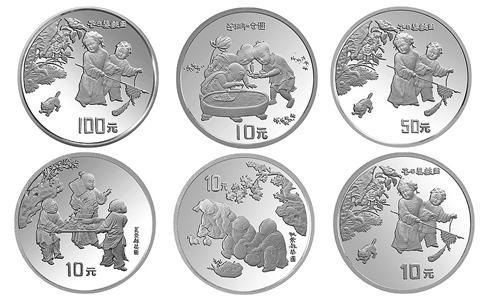 1994中國古代名畫嬰戲圖銀幣,1994年嬰戲圖紀念銀幣,1994年嬰戲圖100元銀幣,1994年嬰戲圖10元銀幣,1994年嬰戲圖50元銀幣