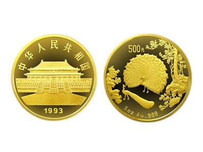 孔雀开屏纪念币 1/10盎司金币收藏价值
