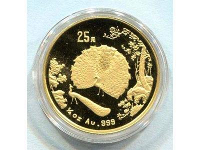 孔雀开屏图金银纪念币工艺衬底